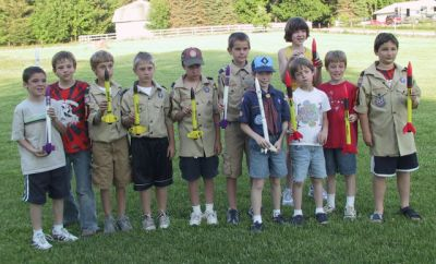 Cub Scouts with the rockets they built
